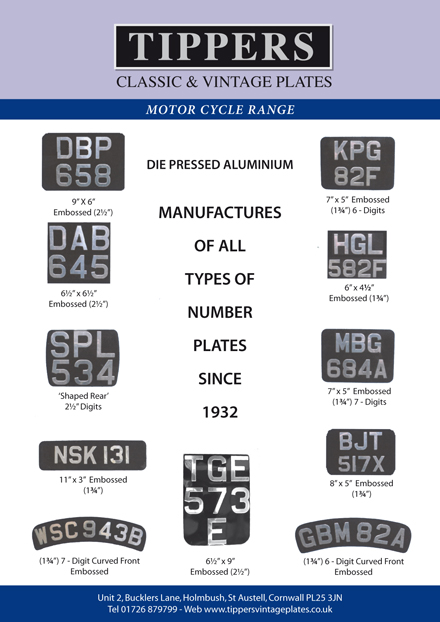 Motor Cycle Plates. MC Flyer