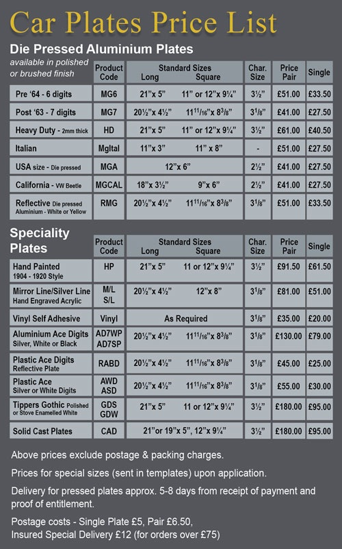 Car Plate Price List #01